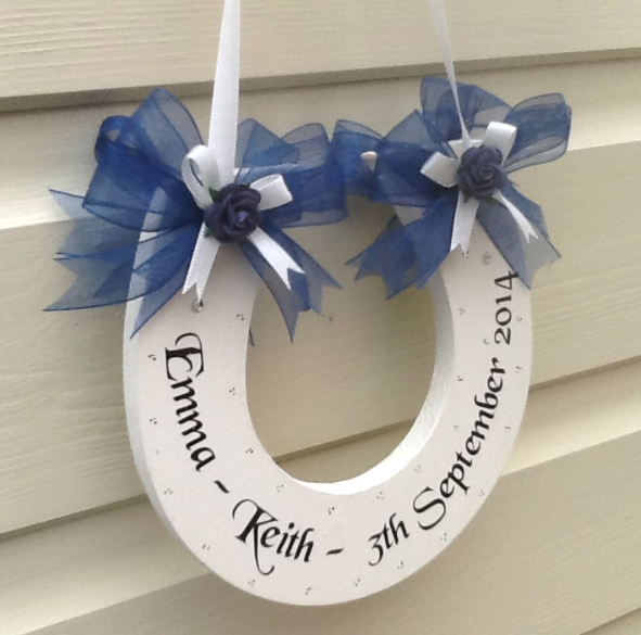 Personalised Wedding Horseshoe Keepsake Gift - Dark Blue Organza